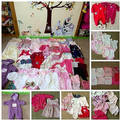 74x items Large Bundle of Baby Girl Clothes age 0-3 months winter autumn E21