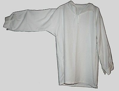 "17th-18th Century Tie Collar Shirt - White Linen - Up to 45"" Chest"