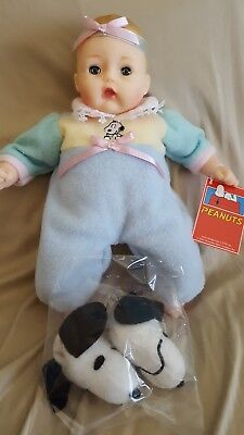 Madame Alexander Huggums Snoopy Slippers, Tag! Soft Baby Doll Peanuts Edition!!!