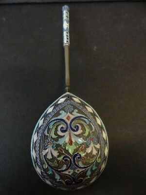 Antique Russian silver cloisonne enamel large spoon by Ivan Saltykov 7.25 inches