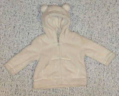 Nwt Girls Size 3 6 Months Baby Gap Ivory Frost Sherpa Bear Hoodie Jacket New