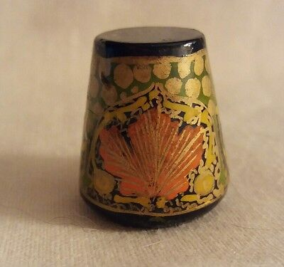 Ornate Painted Wood Thimble