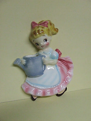 RARE/VHTF Vintage Lefton Miss Dainty w/Watering Can Wall Pocket, Japan/ #PY22105