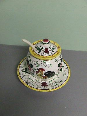 Vintage PY Rooster and Roses Single Condiment Jar w/Attatched Plate & Spoon