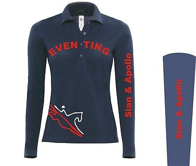 Ladies NAVY Long Sleeve Polo Shirt Equestrian riding clothes wear Eventing