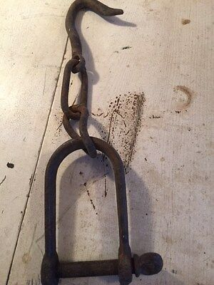 Vintage Antique heavy iron meat / ice hook with chain and handle nautical steam