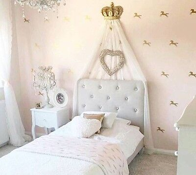 Girls Boys Voile Curtain Drapery Canopy Princess Shabby Chic Gold Cot Bed Crown