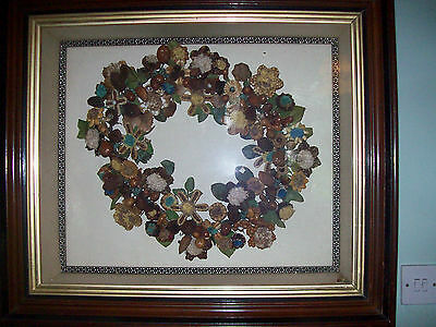 Victorian Floral Seed Craft Picture Framed