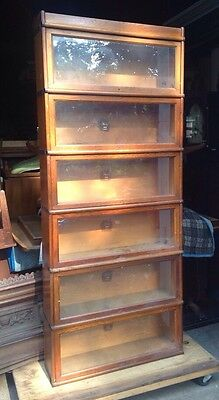 Large Six Section Antique Macey Oak Barrister Stacking Bookcase