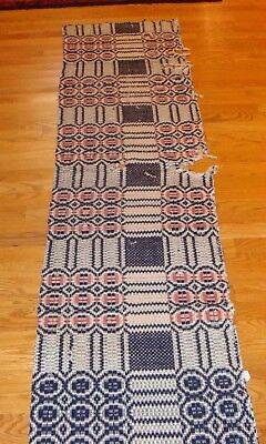 "Antique Wool Woven Jacquard Coverlet, Cutter- Great for Crafting. 87""x20"""