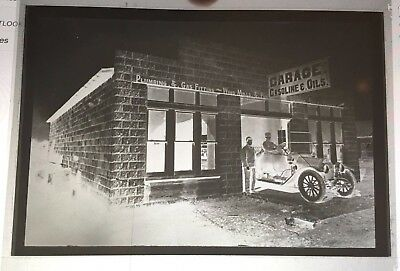 vintage PHOTO NEGATIVE 1920's EARLY AUTOMOBILE GARAGE GRAND PRAIRIE TX 4X5