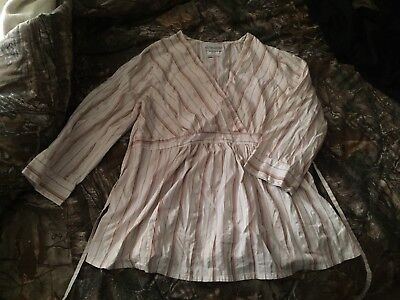 3/4 Sleeve Maternity Blouse, White With Tan Stripes, Size M medium, GUC