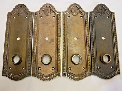 Antique Small Solid Brass Russwin Door Plates