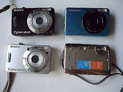 Lot mix of 4 Sony, Samsung, Olympus Digital Cameras