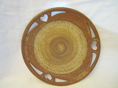 "Studio Handmade 8"" Brown Round Plate Pottery Heart Accents Signed"