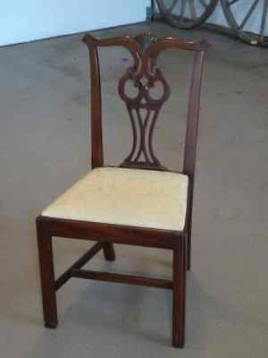 Chippendale Style Mahogany Dining Room Chair With Beautifully Upholstered Seat