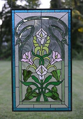 "21"" x 35"" Stained glass window panel Lily Flower Beveled Clear Glass"
