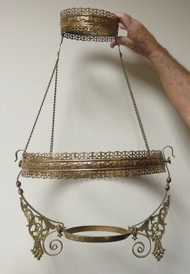 Antique Victorian Embossed Brass Hanging Lamp Frame for 14 inch