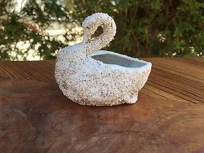"ANTIQUE SAND SWAN Pottery FIGURE small planter holder 3"" long Made 1870's"