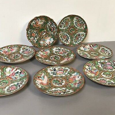 Set of 8 Rose Medallion Chinese Export 19th C Saucers Bread Plate
