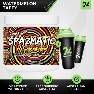 Spazmatic Tim Muriello Muscle | 30 Serves Watermelon Taffy | Energy + FREE Gift!