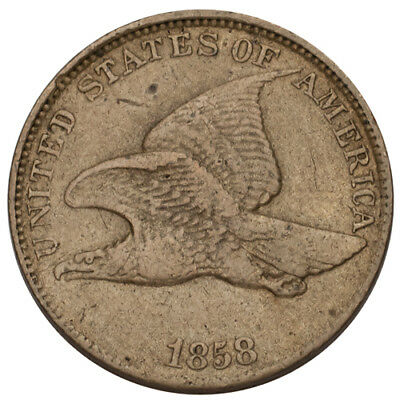 1858 Large Letters Flying Eagle Cent 1C Penny (Fine, F Condition)