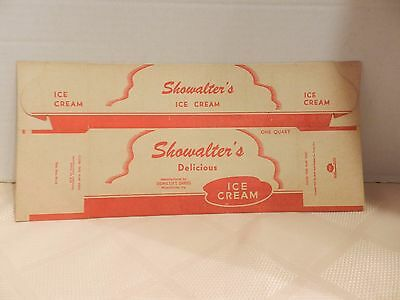 Vintage SHOWALTER'S One Quart Ice Cream Container Box c.1942 New Old Stock