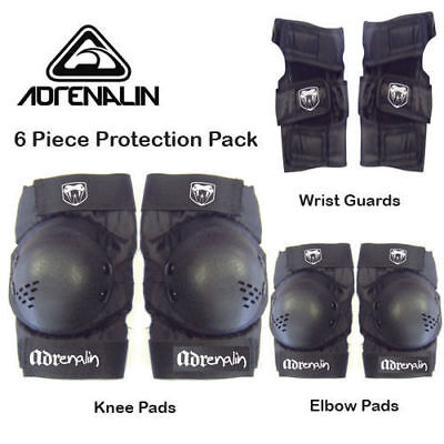 Adrenalin Skate Protection Pads Size LARGE 6 Piece Set Elbows Knee Wrist Guards