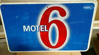 """MOTEL 6 Reflective Interstate Highway Sign 18"""" X 30"""" MAN CAVE"""