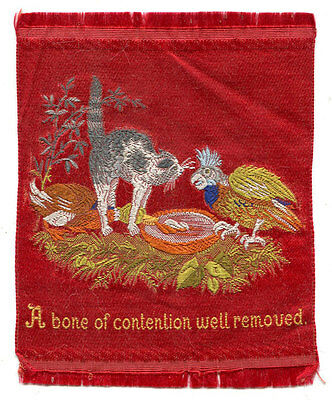 """Stevengraph Style Silk - """"a Bone Of Contention Well Removed"""" With Cat And Parrot"""