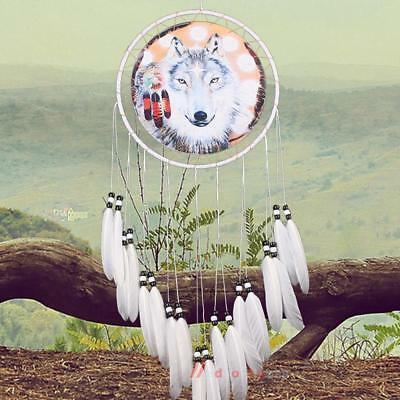 Large Handmade Dream Catcher Wolf With Feathers Home Hanging Home Decor