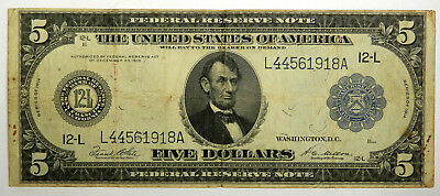 1914 $5 Federal Reserve Note Lincoln - Nice Vf Priced Right!