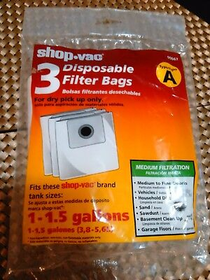 Shop Vac 3 Disposable Dry PickUp 1.5 Gallon Filter Bags (Type A)