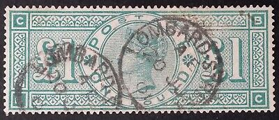 RARE 1891 Great Britain £1 green Queen Victoria Stamp Used