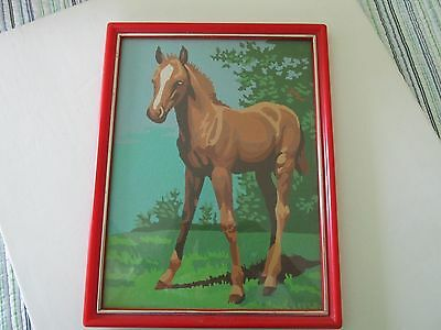Chestnut Horse Colt White Face- Framed - Vintage Paint by Number - 1970s