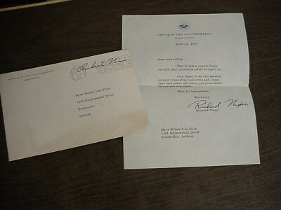 Real Richard Nixon Autograph Signature On Vice President Stationery & Envelope