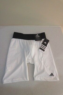 ADIDAS • Boys' Performance Slider with Protective Cup • WHITE • M  **BRAND NEW**