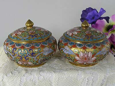 Antique Chinese Champleve Closienne Ginger Jars Tea Caddies Set Of 2
