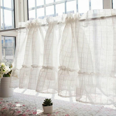 French Country Kitchen Cafe Sheer Voile Curtain Tier Valance White Tartan