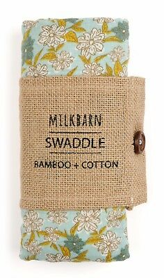 NEW MILKBARN BABY BAMBOO COTTON SWADDLE BLANKET - BLUE FLORAL ~~ Great gift