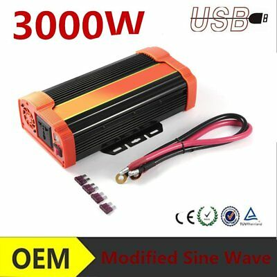 Car Power Inverter 3000W Peak 6000W 12V/24V to 220V 50HZ Pure Sine Wave UK