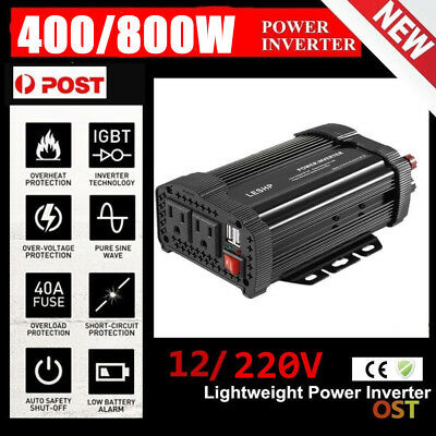 1000W/2000W Peak Pure Sine Wave Power Inverter DC 12V to AC 220V Car Caravan PM