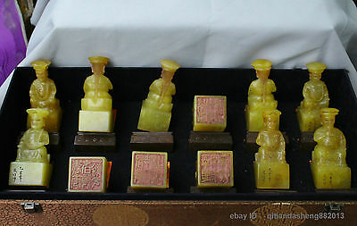 China Fu Jian yellow Shoushan Stone 12 Emperor Statue Signet Stamp Seal carved