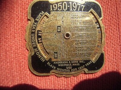 1950 Calendar Advertising 25th Anniversary Token See Listing