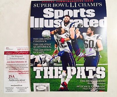 """Julian Edelman signed Sports Illustrated """"The Catch"""" 8x10 Photo JSA Witnessed"""
