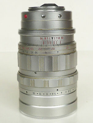 LEICA LEITZ SUMMICRON 90mm f/2 MIDLAND CANADA CHROME SCREW MOUNT LENS
