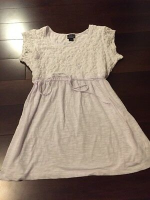 Motherhood Maternity Women's White Short Sleeve Lace Shirt Top Baby Size Large L