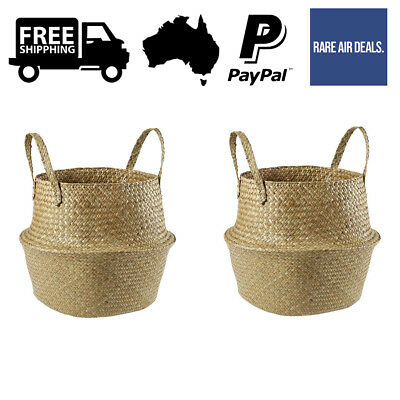 Set of 2 Organic Foldable Seagrass Basket Handles Storage Container Home Decor