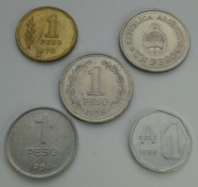 Argentina 1 Peso 1958,1960,1976,1984. 1 Austral 1989. One Dollar coin. Set 5 cns