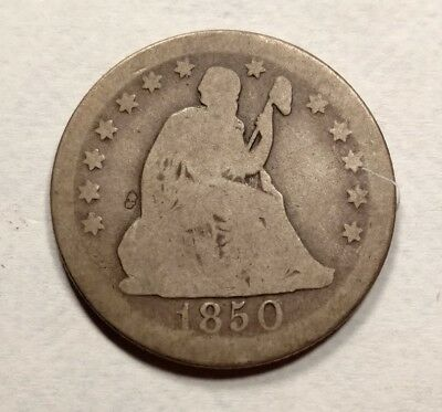 1850-O Seated Liberty Quarter G/AG Better Date Original!